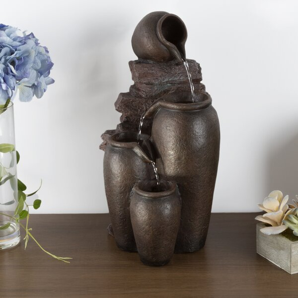 Resin Jug Tabletop Fountain with Light by Pure Garden