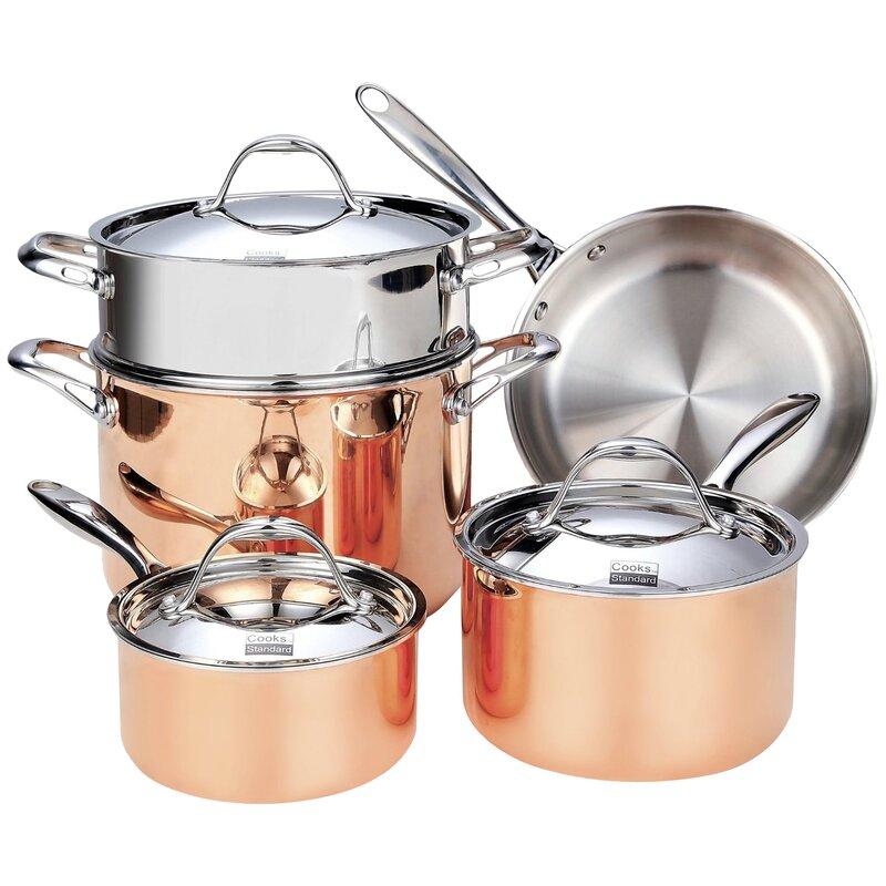 Cooks Standard Batterie De Cuisine Standard De 8 Pieces En Cuivre