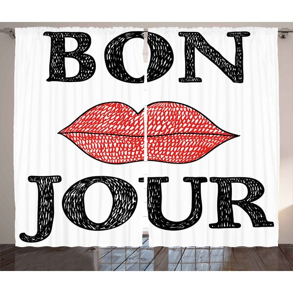 Hayden Graphic Print & Text Semi-Sheer Rod Pocket Curtain Panels (Set of 2) by Ivy Bronx