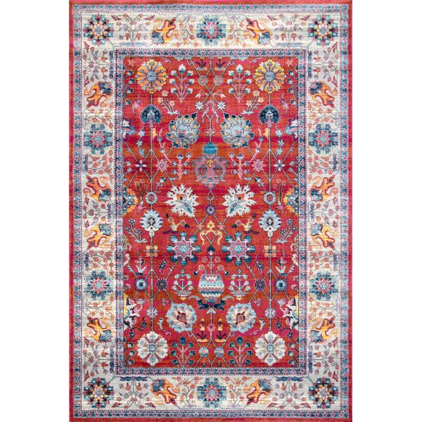 Guilderland Red/Blue Area Rug by Charlton Home