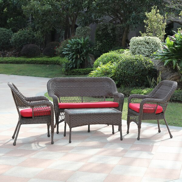 Remillard 4 Piece Rattan Sofa Seating Group with Cushions by August Grove