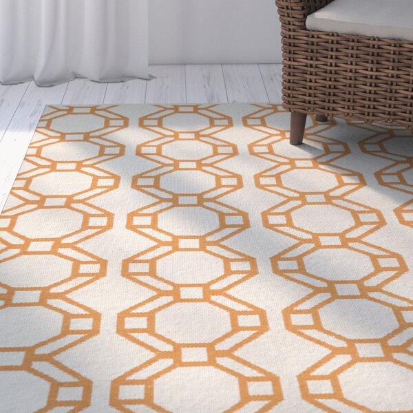 Fowler Cream/Orange Indoor/Outdoor Area Rug by Beachcrest Home