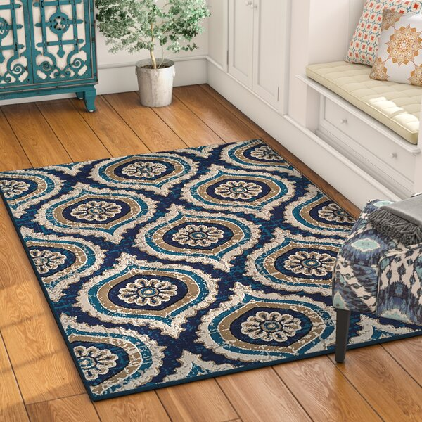 Betton Polypropylene Navy Blue/Beige Area Rug by Bungalow Rose