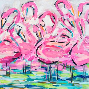 'Flamingos' Print on Wrapped Canvas by Bayou Breeze