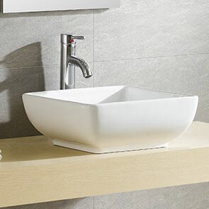 Savings Modern Ceramic Square Vessel Bathroom Sink By Fine Fixtures