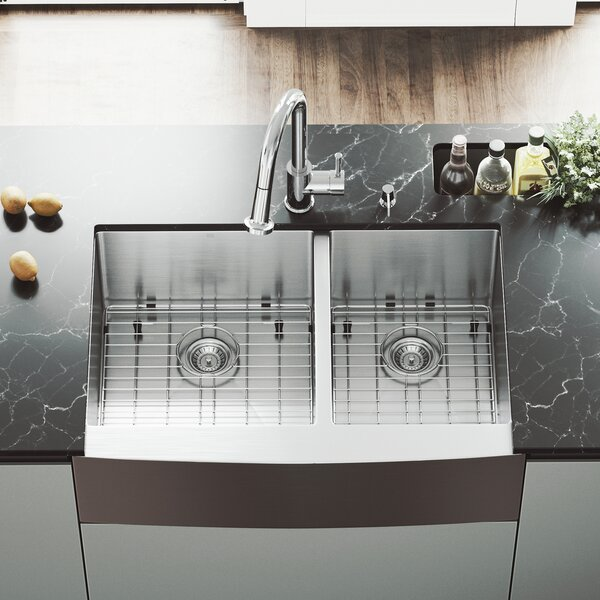 33 inch Farmhouse Apron 60/40 Double Bowl 16 Gauge Stainless Steel Kitchen Sink with Harrison Chrome Faucet, Two Grids, Two Strainers and Soap Dispenser by VIGO