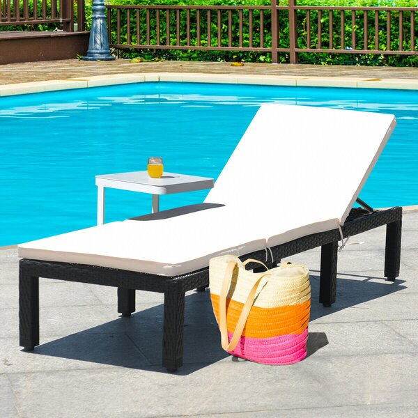 Achaz Patio Reclining Chaise Lounge with Cushion