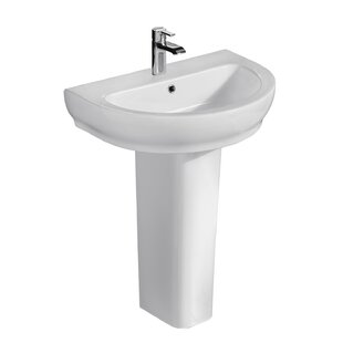 Compare prices Harmony Lavatory Vitreous China Pedestal Bathroom Sink with Overflow By Barclay