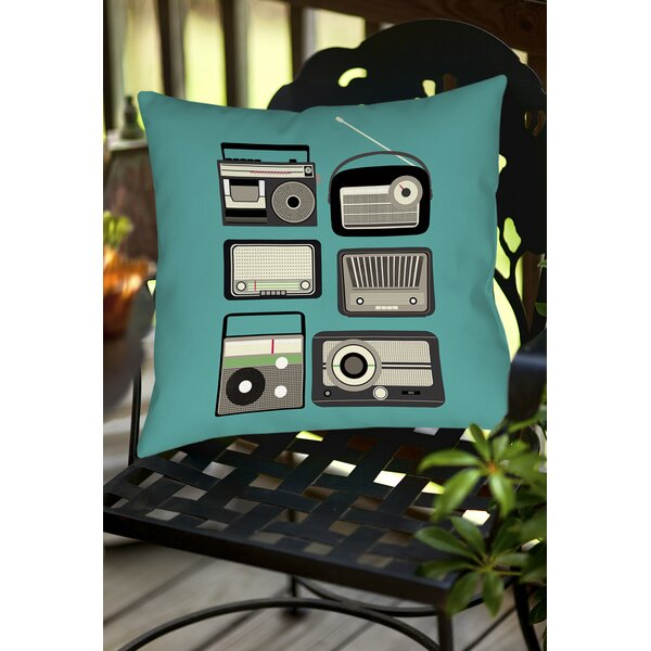 Radios Indoor/Outdoor Throw Pillow by Manual Woodworkers & Weavers