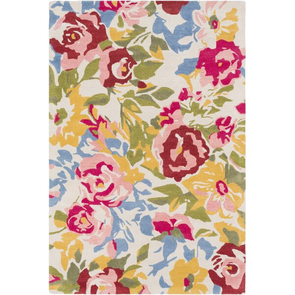 Strope Floral Hand Tufted Wool Pale Pink/Pink Area Rug by Winston Porter