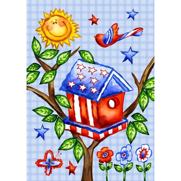 Patriotic Birdhouse 2-Sided Garden flag by Toland Home Garden