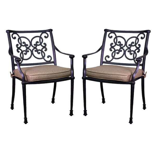 Fisher Stacking Patio Dining Chair with Cushion (Set of 2) by Three Posts