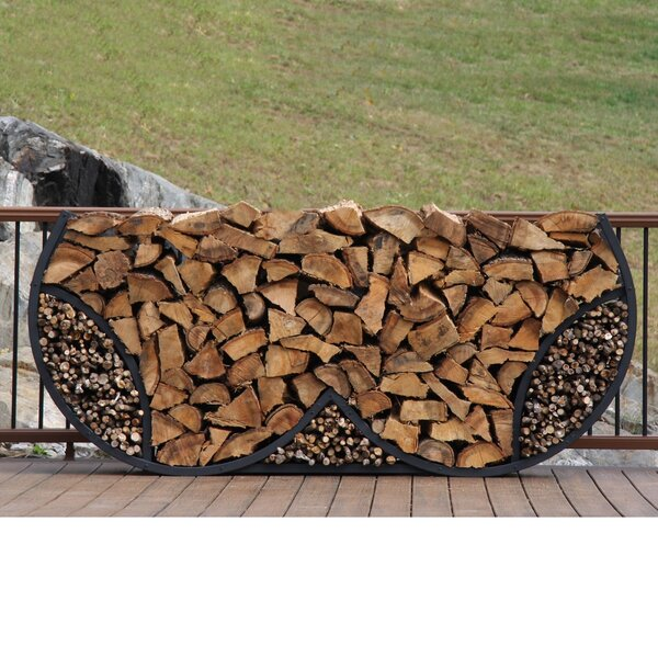 8' Double Round Firewood Log Rack With Kindling Kit By ShelterIt