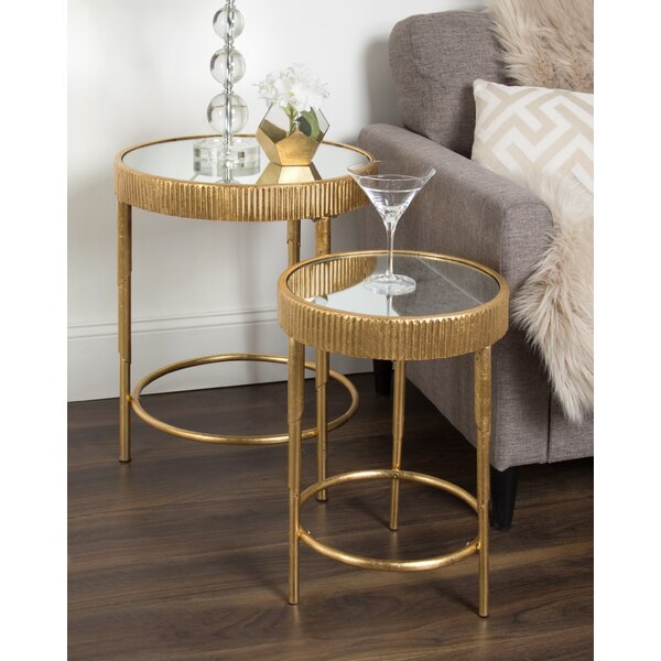 Marley Round 2-Piece Modern Accent Nesting Tables by Mercer41