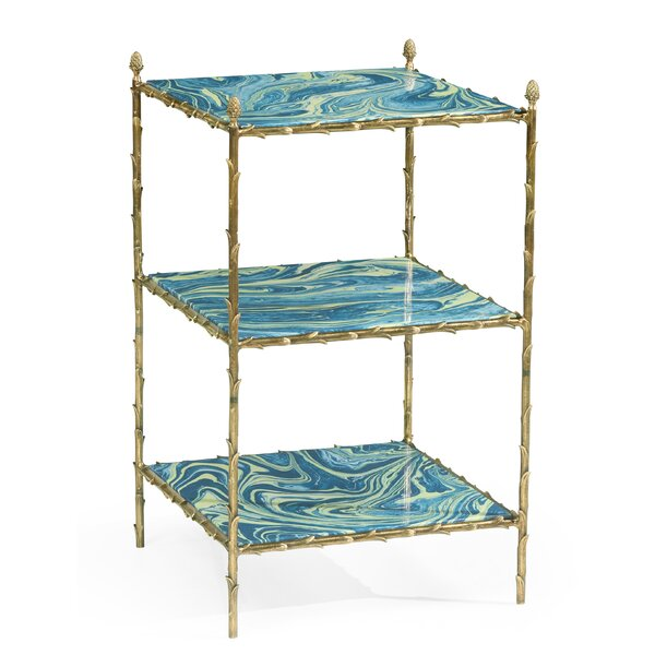 Square Graffiti and Brass 3-Tier End Table by Jonathan Charles Fine Furniture Jonathan Charles Fine Furniture