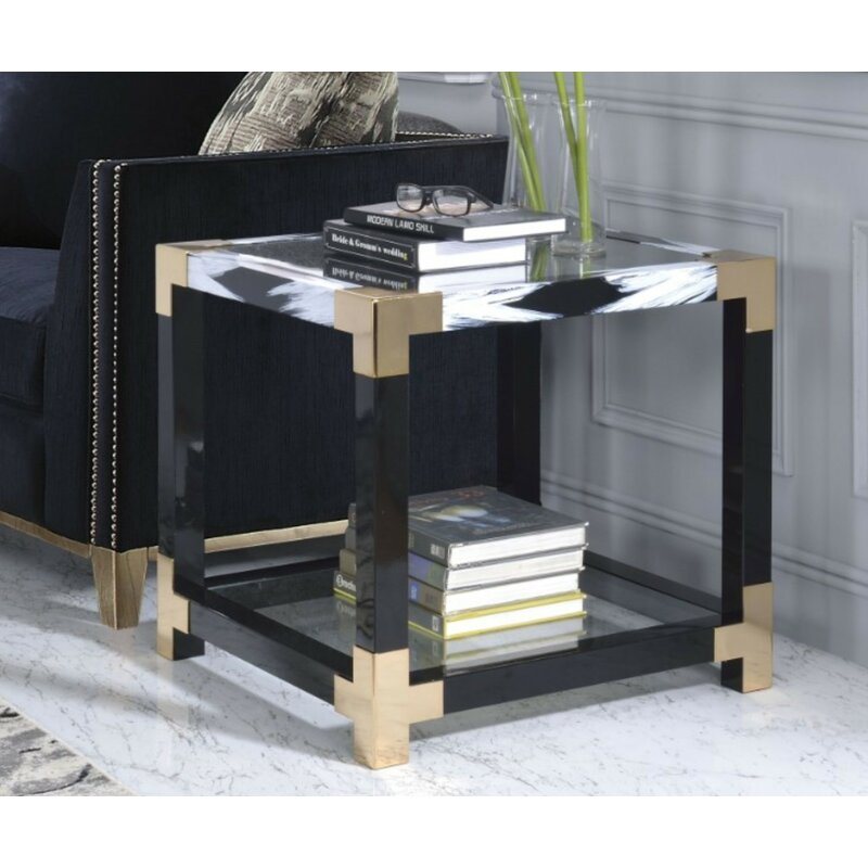 Shanitaortia Modern Square Metal And Gl End Table