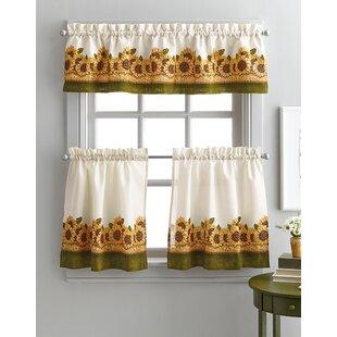 Pierceton Sunflower Graden 3 Piece Kitchen Curtains