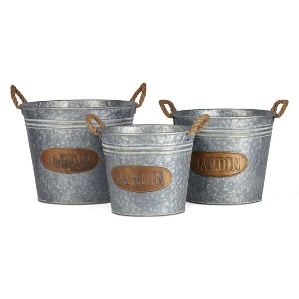 Shimmering 3-Piece Iron Pot Planter Set by Benzara