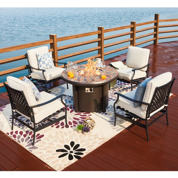 Bonanno 5 Piece Multiple Chairs Seating Group with Cushions by Darby Home Co