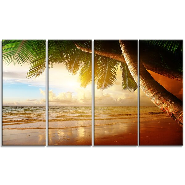 Caribbean Beach Sunrise Landscape 4 Piece Photographic Print on Wrapped Canvas Set by Design Art