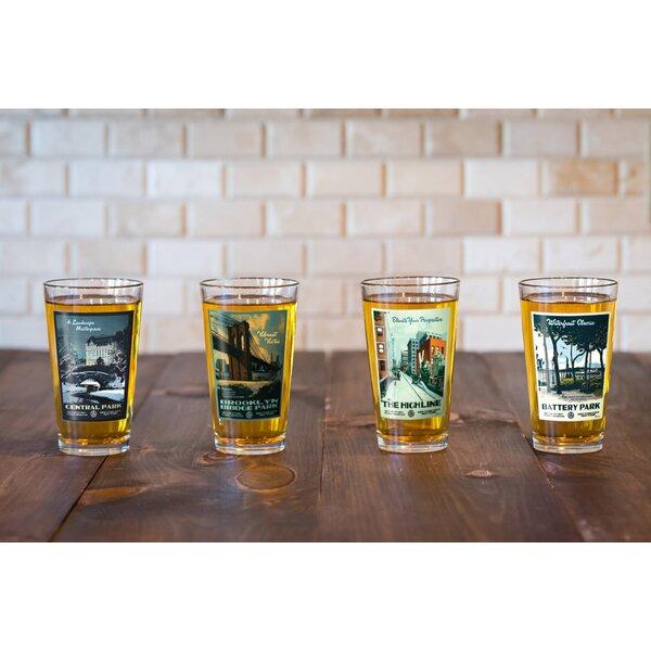 Marvi New York City 4 Piece 16 oz. Pint Glasses Set by Red Barrel Studio