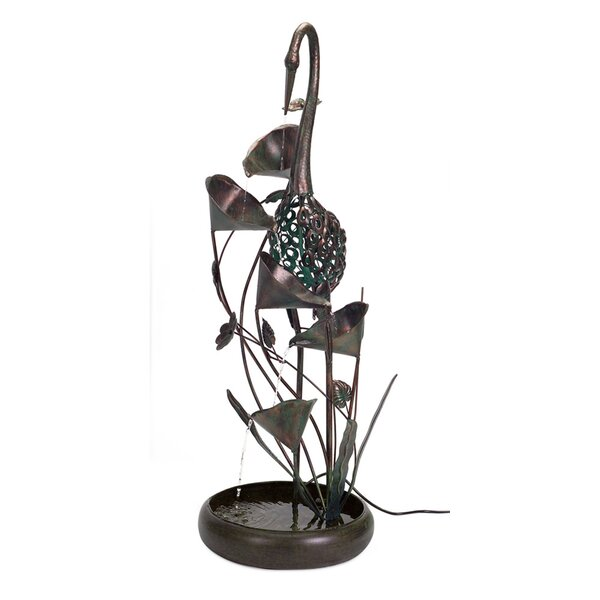 Metal Crane Fountain by Melrose International