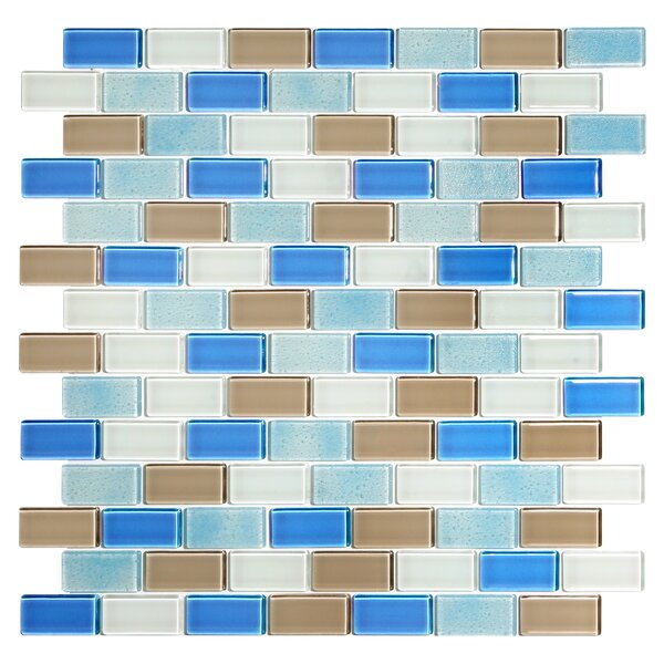 Tides 0.75 x 1.63 Glass Mosaic Tile in Hamptons by Kellani