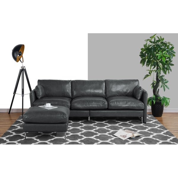 Lozada Leather Reversible Modular Sectional with Ottoman by Orren Ellis