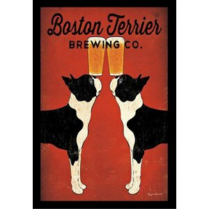 'Boston Terrier Brewing Company' by Ryan Fowler Framed Vintage Advertisement by Winston Porter