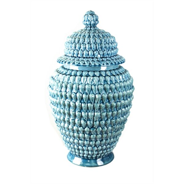 Shaped Decorative Ceramic Beaded Temple Storage Jar by Rosecliff Heights