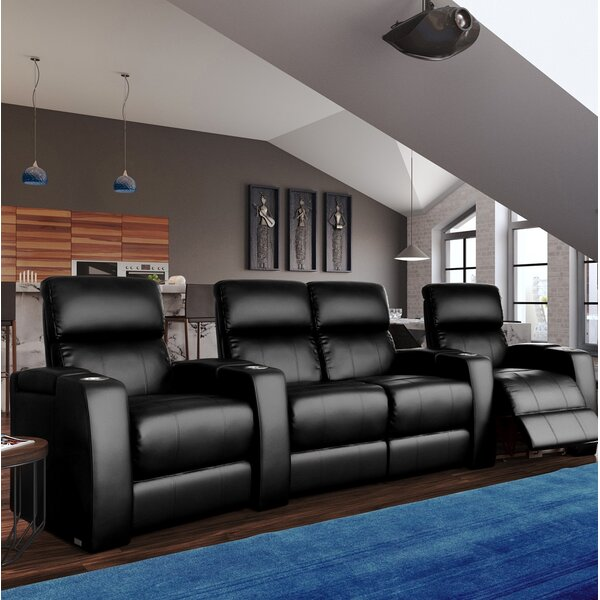 Home Theater Curved Row Seating with Chaise Footrest (Row of 4) by Latitude Run