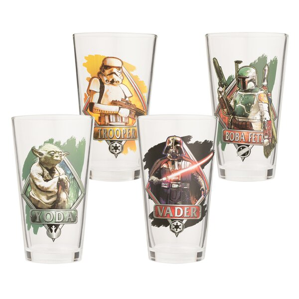 Star Wars 16 oz. Glass Every Day 4 Piece Glasses Set by Vandor LLC
