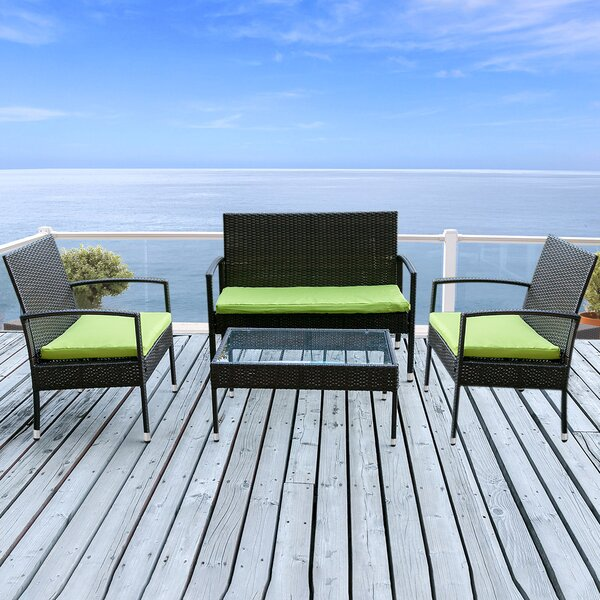 Poulan Patio 4 Piece Rattan Sofa Seating Group with Cushions by Bay Isle Home