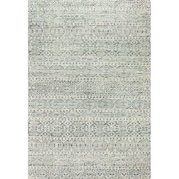 Adamson Hand-Knotted Wool Aqua Area Rug