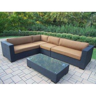 Bosch 5 Piece Rattan Sunbrella Sofa Set with Cushions ByDarby Home Co
