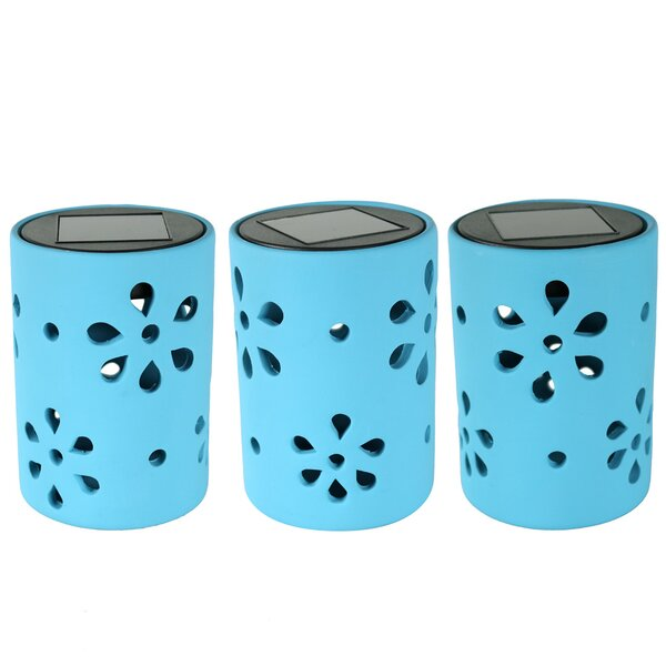 Jiang Ceramic Jar Style 1 Light LED Step Light with Flower Cutouts (Set of 3) by Red Barrel Studio