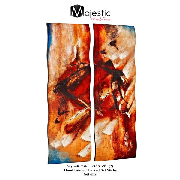 Tall Rectangular Hand Painted Curved Abstract 2 Piece Painting Print Set by Majestic Mirror