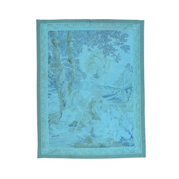 One-of-a-Kind Heidrick Aubusson Tapestry Oriental Hand-Knotted Blue Area Rug by Ebern Designs
