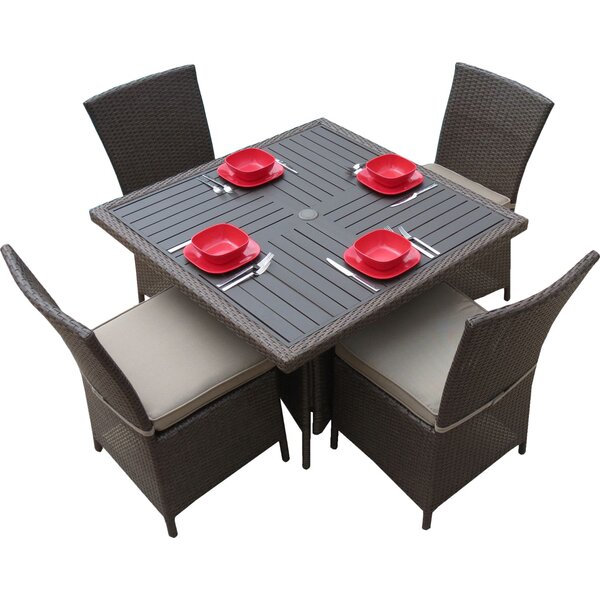 5-Piece Salinas Patio Dining Set in Light Brown by Creative Living