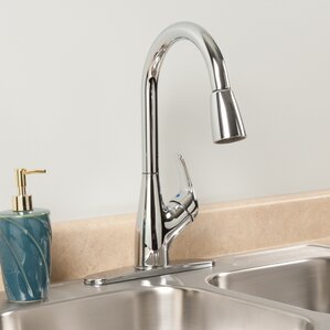 Waxman AquaLife Single Handle Pull-Down Kitchen Faucet with 2 Spray Settings