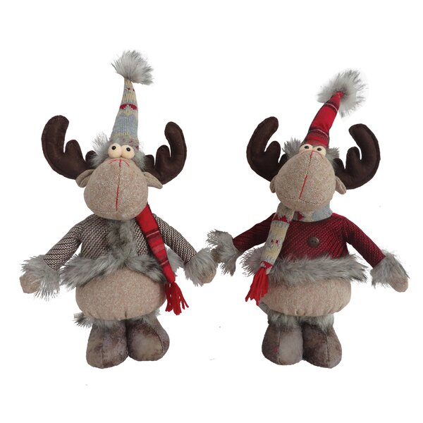 2 Piece Standing Country Moose Stuffed Holiday Accent Set by Red Barrel Studio