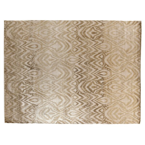 Carrera Hand Woven Silk Gold/Beige Area Rug by Exquisite Rugs