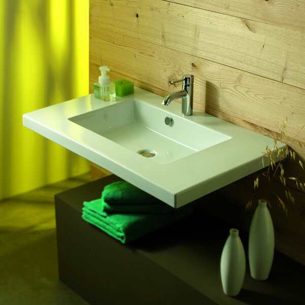 Mars Ceramic 36 Wall Mount Bathroom Sink with Overflow by Ceramica Tecla by Nameeks