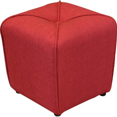 Bellatrix Tufted Cube Ottoman Upholstery Color: Deep Red by Andover Mills