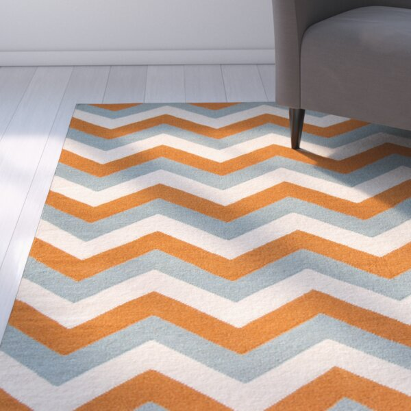 Lily Hand Woven Blue/Orange Area Rug by Latitude Run