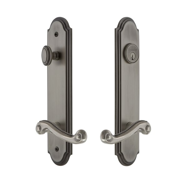 Arc Tall Plate Single Cylinder One Piece Knobset with Newport Lever by Grandeur