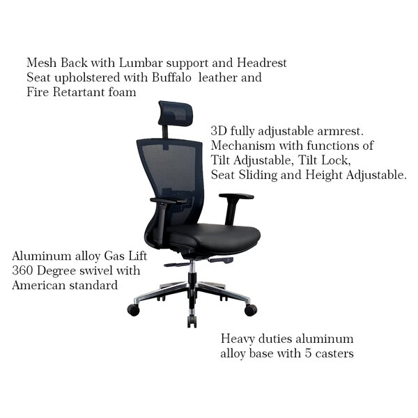 Kinnison Multi-Function Sling Seat Ergonomic Mesh Executive Chair by Latitude Run