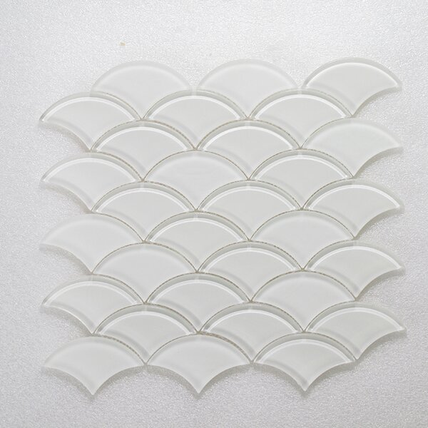 Scaglie Wall 12 x 12 Glass Mosaic Tile in White/Clear by Seven Seas