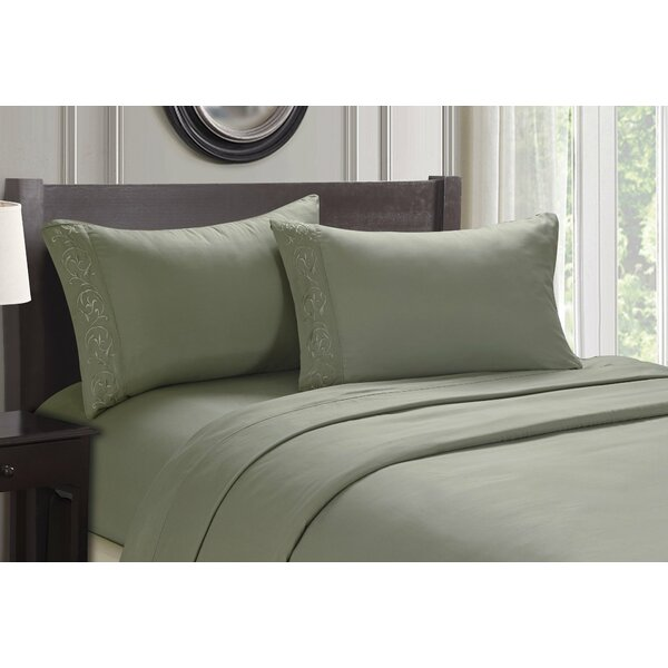 Ledbury Twin Size Soft Touch Venus Embroidered Sheet Set by Alcott Hill