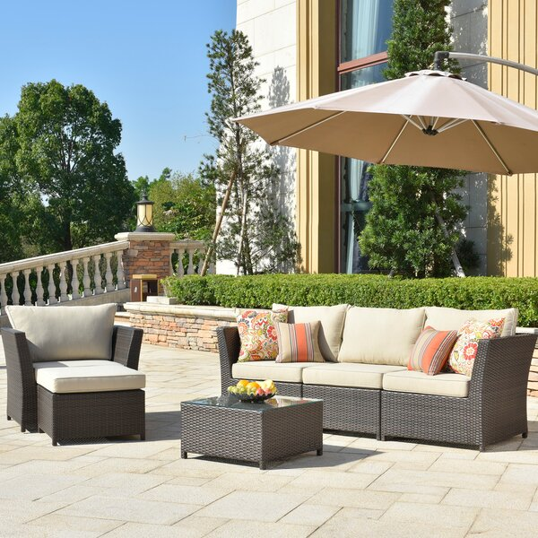 Cassville Furniture 6 Piece Rattan Sectional Seating Group With Cushions By Alcott Hill by Alcott Hill Spacial Price